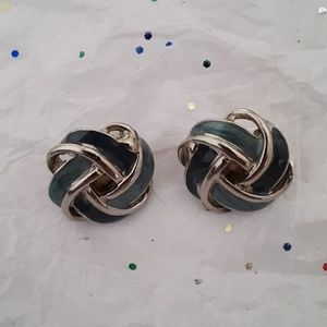 Vintage green clipon earrings